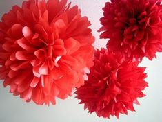 Red Riding Hood ... 3 tissue paper poms // wedding by PomLove, $15.00