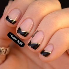 Photo by iiNailsArt: black angled tips with GOLD