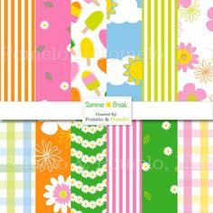 Summer Break Digital Scrapbook Paper Pack 12 x 12 by PomeloandPomelo, $4.00