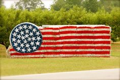 """A colorful look at the American flag. It inspired Francis Scott Key to write the """"The Star Spangled Banner."""" Today, Old Glory continues to inspire. See how the flag appears in our everyday life. Hay Bale Decorations, Straw Sculpture, American Flag Pictures, American Gods, American Pride, Farm Day, Pumpkin Farm, Hay Bales, Halloween Trick Or Treat"""