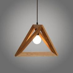 Suspension Design Triangle en Bois 42cm 110-220V (Ampoules non inclus)-Corde Ajustable-Luminaire Suspension Salle à Manger
