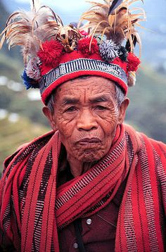 Banaue, Philippines.A old man wearing traditional Ifugao clothing in Banaue.