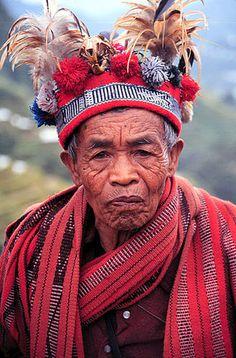 Banaue, Philippines.A old man wearing traditional Ifugao clothing in Banaue.