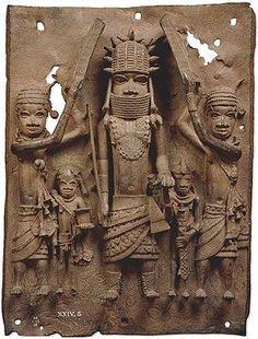 Benin plaque: the oba with Europeans. Benin, Nigeria, Edo peoples, 16th century AD.