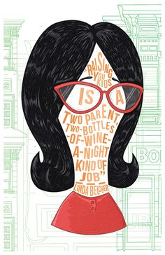 Famous Hair / Lines: Linda Belcher by NateJonesDesign on Etsy