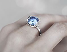 """Check out new work on my @Behance portfolio: """"""""Rob I"""" Ring - White Gold with Sky Blue Topaz"""" http://on.be.net/1vsSleK"""