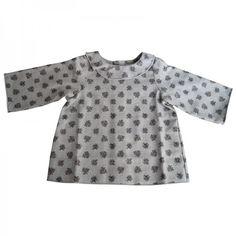 Blouse JEANNE-devant-coton gratté imprimé gris
