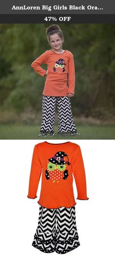 AnnLoren Big Girls Black Orange Owl Chevron Halloween Pants Outfit 7-8. This outfit from Ann Loren is right for Halloween with enchanting patterns and lettuce edge. The orange long sleeved tunic features an owl with a witch hat applique. Complete with chevron striped flared pants for an eye-catchy look.