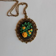 Hey, I found this really awesome Etsy listing at https://www.etsy.com/listing/209756012/yellow-floral-necklace-statement