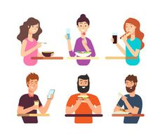 People, hungry persons eating different foods. Cartoon characters eat vector set isolated on white background Best Flats, Cartoon Characters, Fictional Characters, Different Recipes, Character Illustration, Royalty Free Photos, Vector Free, Clip Art, Stock Photos