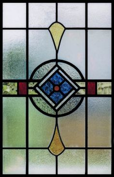 Antique Stained Glass Blue Diamond