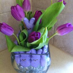 Spring Decor...love the peeps and tulips!