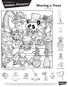 Hidden Picture Games, Hidden Picture Puzzles, Summer Camp Crafts, Camping Crafts, Colouring Pages, Coloring Sheets, Ivan Cruz, Hidden Pictures Printables, Highlights Hidden Pictures