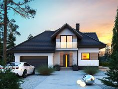 Foto des Projekts Opałek III N - Fashitaly All Pictures Architectural Design House Plans, Modern Architecture House, Minimal House Design, Two Story House Design, Small Villa, Modern Bungalow House, Rustic Houses Exterior, Modern Rustic Homes, Facade House