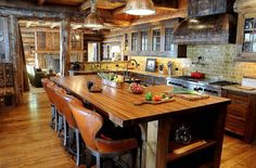 rustic leather decor | ... well as the design allow the stools to fit well in this rustic kitchen