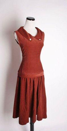 e4f7b7c425774 Vintage 1940s corduroy dress 1940s Dresses