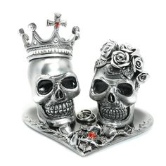 Silver Ceramic Paint Skull Day of the Dead Cake Topper Gothic AT00013