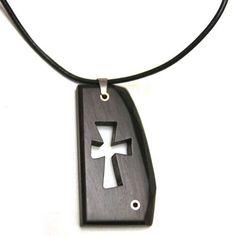 음핑고 흑단 십자가목걸이