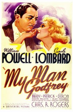 As Cornelia (Gail Patrick) puts her foot down, Godfrey (William Powell) is obliged to hoist Irene (Carole Lombard) upstairs, where he catches on to her scheme in My Man Godfrey, Carole Lombard, Turner Classic Movies, Classic Movie Posters, Classic Films, Old Movies, Vintage Movies, Great Movies, Movies Free, Love Movie