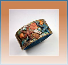 polymer clay Seashore Bangle bracelet by artist Sherri Kellberg