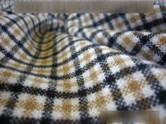 Tartan check Brushed Acrylic fabric Kilts Blanket Rugs material - Beige 5 Mtr G