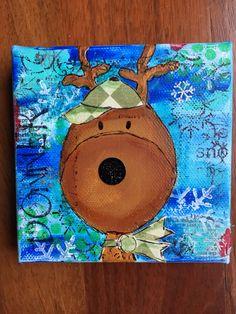 by Betsy Walcheski.  Mixed media mini Christmas canvas