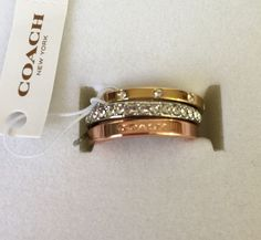 New Coach Set of 3 Rings Stackable Pave LOGO Silver & Gold & Rose Gold F99552 #Coach #Band
