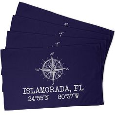 Custom Compass Rose Coordinates Hand Towel - Navy (Set of 4)