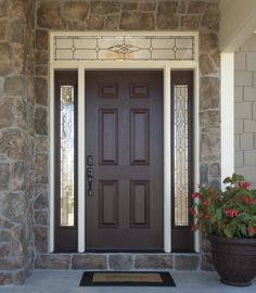 Versatile, durable fiberglass front doors with decorative glass sidelights and transom add style. Visit Pella.com