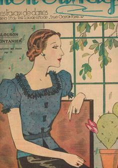 Mon Ouvrage women's needlework magazine - April 1937 spring knit blouse pattern issue - French 30s vintage