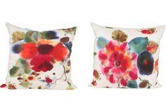 Rubelli floral watercolor pillows