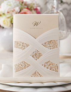 Vertical Laser Cut Wedding Invitation with White Hollow Flora,Customizable,100 Pcs/Lot,CW060