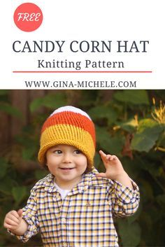 FREE Knitting Pattern for this Candy Corn Hat