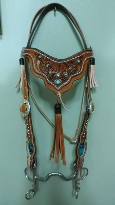 Western Baroque Henna Leather Bridle - Tassels and Teal Leather Inlay Horse Bridle, Western Horse Tack, Horse Gear, Cute Horses, Pretty Horses, Beautiful Horses, Barrel Saddle, Barrel Racing Tack, Headstalls For Horses
