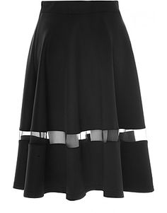 Glamorous Midi skirts, Price: GBP 35.00, Black Midi Skirt with Mesh Panel