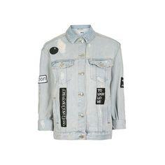 TopShop Moto Black & White Badge Jacket (€64) ❤ liked on Polyvore featuring outerwear, jackets, bleach stone, jean jacket, distressed jean jacket, distressed denim jacket, black white jacket and oversized denim jacket