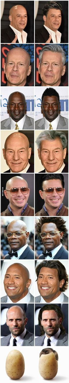 How Bald Celebrities Would Look If They Had Hair - The rock, vin diesel