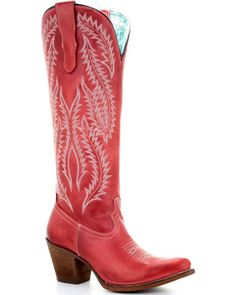 Corral Women's Red Embroidery Tall Top Western Boots – Round Toe Corral Womens Red Embroidery Tall Top Western-Stiefel – Round Toe, Rot Red Cowgirl Boots, Kids Western Boots, Cowboy Boot Outfits, Cowboy Boots Women, Red Boots, Tall Boots, Shoe Boots, Gypsy Boots, Rodeo Outfits