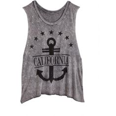 California Anchor Tank ($25) ❤ liked on Polyvore featuring tops, shirts, tank tops, blusas, anchor tank, anchor tank top, anchor shirts, anchor top and shirt tops