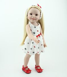 58.40$  Watch now - http://alilaj.worldwells.pw/go.php?t=32787946055 - New Arrived Vinyl Lifelike Princess Doll 45cm Girl Dress Up Children Toy Birthday Present