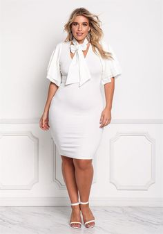 Plus Size Clothing | Plus Size Tie Front Layered Sleeve Bodycon Dress | Debshops