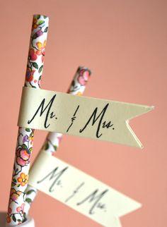 DIY Straw flags // cocktail reception--cute idea to label the ribbon sticks Garden Wedding, Diy Wedding, Dream Wedding, Wedding Day, Perfect Wedding, Rustic Wedding, Wedding Favors, Diy Straw, Wedding Reception Decorations