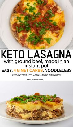 INSTANT POT KETO LASAGNA with no noodles that are only g net carbs per serving. This easy 9 ingredient meat lasagna makes the perfect keto lunch or keto dinner in minutes! Keto Noodles, Keto Recipes, Healthy Recipes, Soup Recipes, Broccoli Recipes, Bread Recipes, Low Carb Lasagna, Soup Appetizers, Instant Pot Dinner Recipes