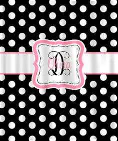 Personalized Shower Curtain - Black & White Polka Dots -any accent color - shown in pink. $78.00, via Etsy.