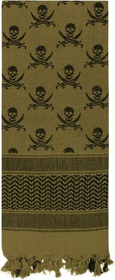 Olive Drab Shemagh Arab Tactical Desert Keffiyeh Scarf w/ Black Skulls | 8539 OD | $9.99