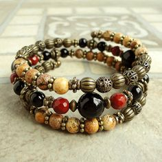 Love the earthy colors......Memory Wire Bracelet Idea