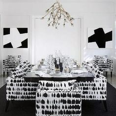 Black and White Dining Chairs, Contemporary, Dining Room
