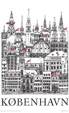 """Towers of Copenhagen"" poster by Jacob Sneum. The Places Youll Go, Places To Go, Copenhagen Denmark, Copenhagen City, Copenhagen Design, Cities, Vintage Travel Posters, Art Design, Danish Design"
