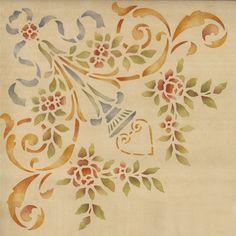 Furniture Stencils | Ornamental Rose Corner | Royal Design Studio