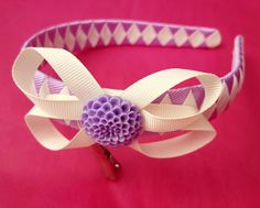 Handmade summer lilac and cream Alice band